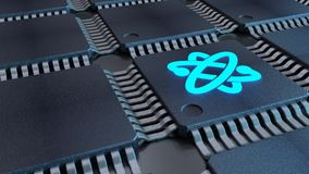 Grid of black chips with a blue atom symbol quantom computing co. Ncept 3D illustration Royalty Free Stock Image