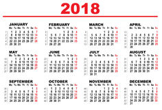 Grid calendar for 2018 Stock Photography