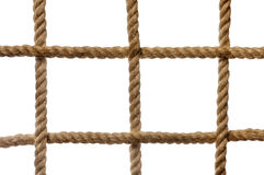 The grid cells of thick rope as background. On white Royalty Free Stock Images