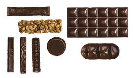 Grid of chocolate bars. On a white background Royalty Free Stock Image