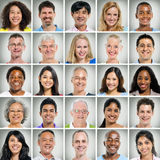 Grid of Close Ups of Smiling People Stock Photography