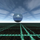 Grid Cloud Horizon Glass Sphere. A electrical grid horizon with sphere background royalty free illustration