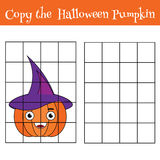Grid copy children educational game, drawing kids activity, halloween theme Royalty Free Stock Photo