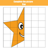 Grid copy game, complete the picture children , coloring page. Kids activity sheet with star shape Stock Images