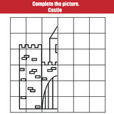 Grid copy game, complete the picture children. Printable Kids activity sheet with castle. Learning Symmetry drawing Royalty Free Stock Photo