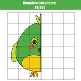 Grid copy game, complete the picture game, coloring page. Kids activity sheet with bird Stock Images