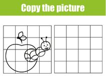 Grid copy picture activity. Educational children game. Printable Kids activity sheet with caterpillar. Royalty Free Stock Photo