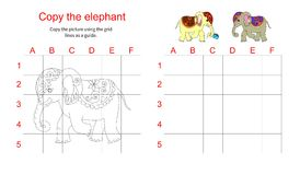 Grid copy puzzle - the picture of cute elephant. Royalty Free Stock Image