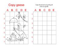Grid copy puzzle - the picture of cute geese. Royalty Free Stock Photos