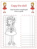Grid copy puzzle - the picture of cute girl. Royalty Free Stock Images