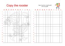 Grid copy puzzle - the picture of fairy rooster. Stock Photos