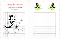 Grid copy puzzle - the picture of funny dragon. Stock Image