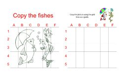 Grid copy puzzle - the picture of two talking fish. Educational game for children. Vector illustration Stock Photography