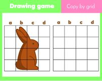 Grid copy worksheet. educational children game. Printable drawing activity for toddlers and kids. Easter theme