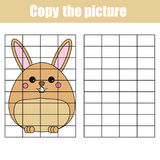Grid copy worksheet. educational children game. Printable Kids activity sheet with cute rabbit, bunny. Copy the picture. Grid copy game, complete the picture vector illustration