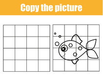 Grid copy worksheet. educational children game. Printable Kids activity sheet with fish. Copy the picture. Grid copy game, complete the picture educational Stock Photo