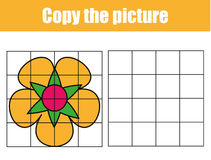 Grid copy worksheet. educational children game. Printable Kids activity sheet with flower. Copy the picture. Grid copy game, complete the picture educational vector illustration