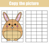 Grid copy worksheet. educational children game. Printable Kids activity sheet with rabbit. Copy the picture Stock Photo