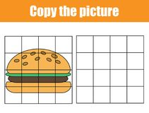 Grid copy worksheet. educational children game. Printable Kids activity sheet with yummy burger. Copy the picture. Grid copy game, complete the picture Stock Photo