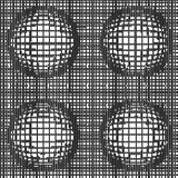 Grid of distorted dynamic lines with Spheres. Black and white. Vector seamless background Stock Photos