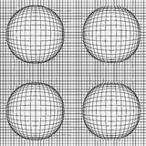 Grid of distorted dynamic lines with Spheres. Black and white. Vector seamless background Royalty Free Stock Images