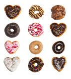A grid of donuts. On a white background Royalty Free Stock Image