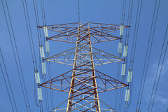 Grid electricity transmission tower - Series 2. Grid electricity transmission tower against blue sky stock image