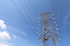 Grid electricity transmission tower - Series 4. Grid electricity transmission tower against blue sky stock photos