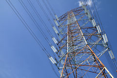Grid electricity transmission tower - Series 7. Grid electricity transmission tower against blue sky stock photos