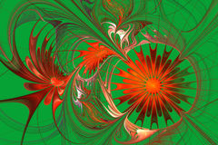 Grid fractal pattern in red and green. Computer generated graphics. Stock Image