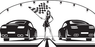 Grid girl launches car race Royalty Free Stock Photos