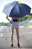 Grid girl with umbrella Stock Photo