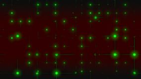 Grid of green atoms. Blinking square grid of green atoms. 3d rendering stock footage