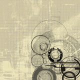 Grid grunge abstract. Combination of graphic elements grid lines circles and grunge stock illustration
