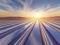 Grid Horizon Sunset. An illustration abstract surreal background with a flash of light sunrise over a metal grid to a vanishing point royalty free illustration