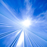 Grid Horizon Technology. Vanishing point grid to a sun horizon stock illustration