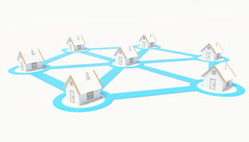 Grid Houses. Connected houses, buildings in grid Royalty Free Stock Images