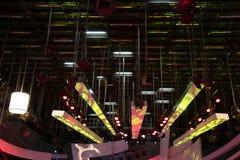 Grid lights inside the TV studio. Lighting installation stock image