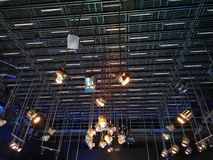 The grid of lights in a television studio royalty free stock image