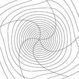 Grid mesh with distortion. Rotating, spiral mesh of lines. Royalty Free Stock Image