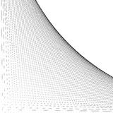 Grid, mesh of intersecting lines with curve, arc spreading from. The corner. Reticulate pattern with asymmetry. Abstract monochrome illustration. - Royalty free stock illustration