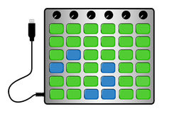 Grid midi controller. A midi controller with lots of buttons Royalty Free Stock Photos