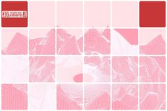 Grid mountain landscape tiled pink abstraction with red inserts Royalty Free Stock Photos