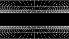 SIDE flight seamless grid net polygonal wireframe abstract retro tunnel slow motion loop drawing motion graphics. Grid net abstract drawing polygonal soft moving stock video footage