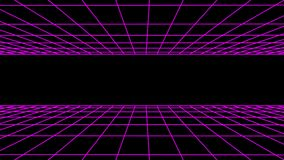 SIDE flight seamless grid net polygonal wireframe abstract retro tunnel slow motion loop drawing motion graphics. Grid net abstract drawing polygonal soft moving stock footage
