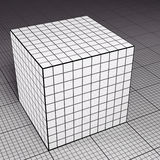 Grid paper cube on grid paper floor. Illuminated grid paper cube on grid paper floor (3D render Royalty Free Stock Image