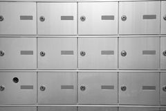 Grid of post office boxes Stock Images