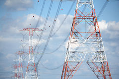 Grid Power on High Voltage Transmission Towers Stock Photography