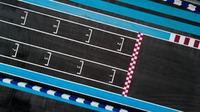 Grid race start line in a car track, Aerial top view of grid race start stock image