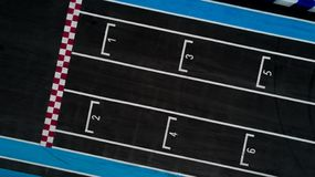 Grid race start line in a car track, Aerial top view of grid race start royalty free stock photography